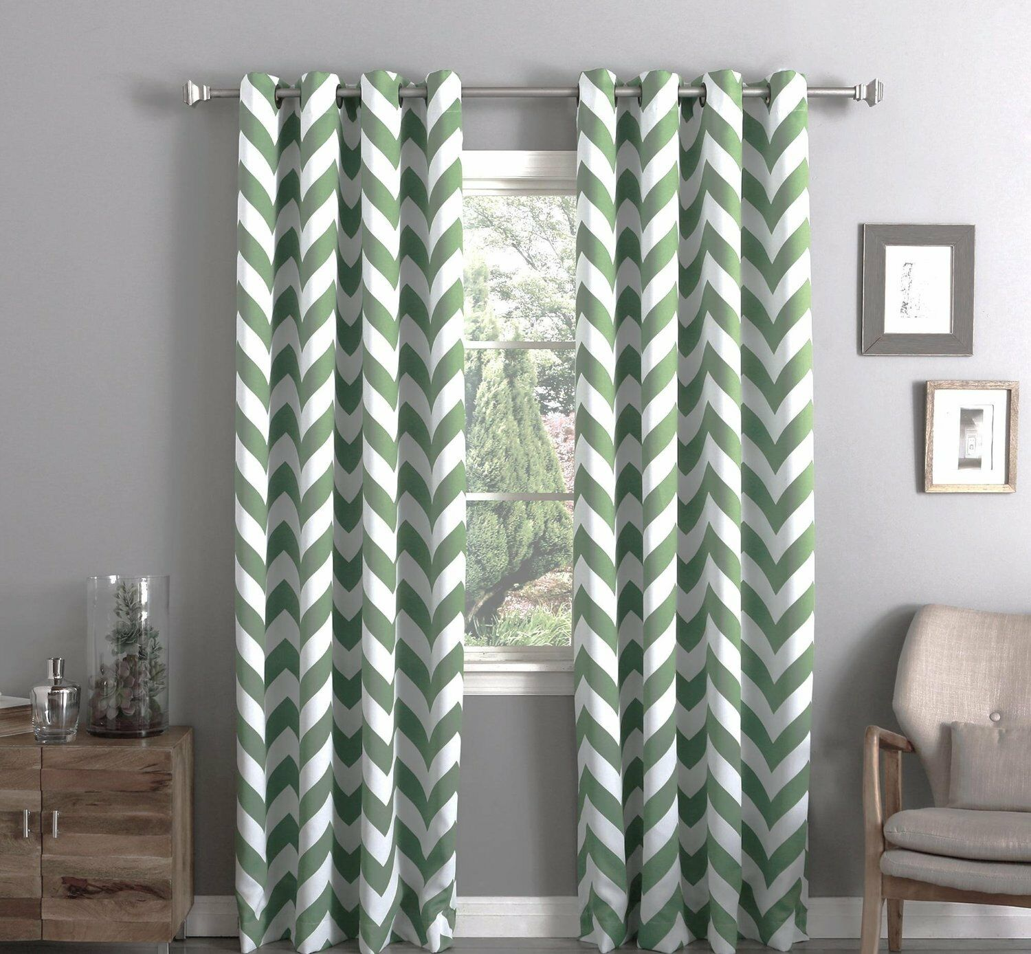 "Chevron 100% Thermal Blackout Grommet Curtain Panel 84"" x 52"" - Sage Green"
