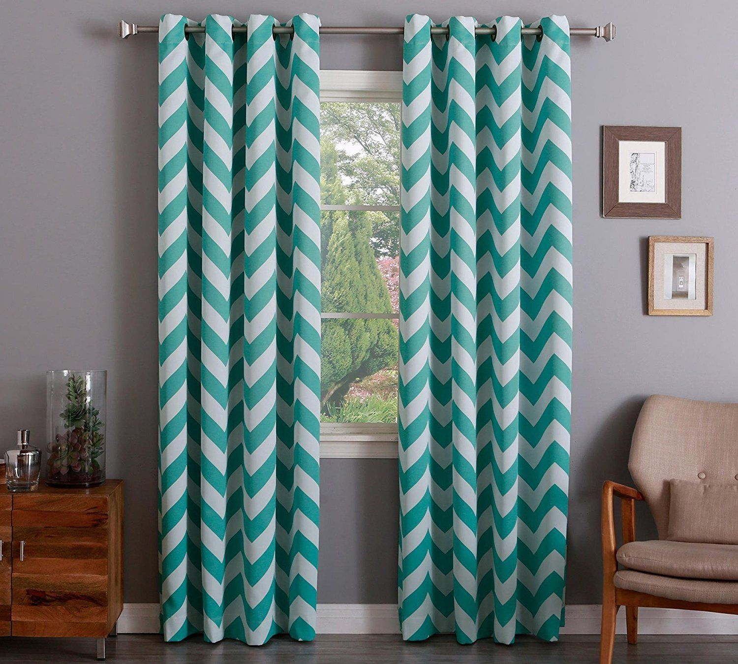 "Chevron 100% Thermal Blackout Grommet Curtain Panel 84"" x 52"" - Turquoise Blue"