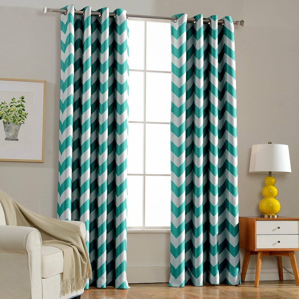 "Chevron 100% Thermal Blackout Grommet Curtain Panel 55"" Wide - Turquoise Blue"