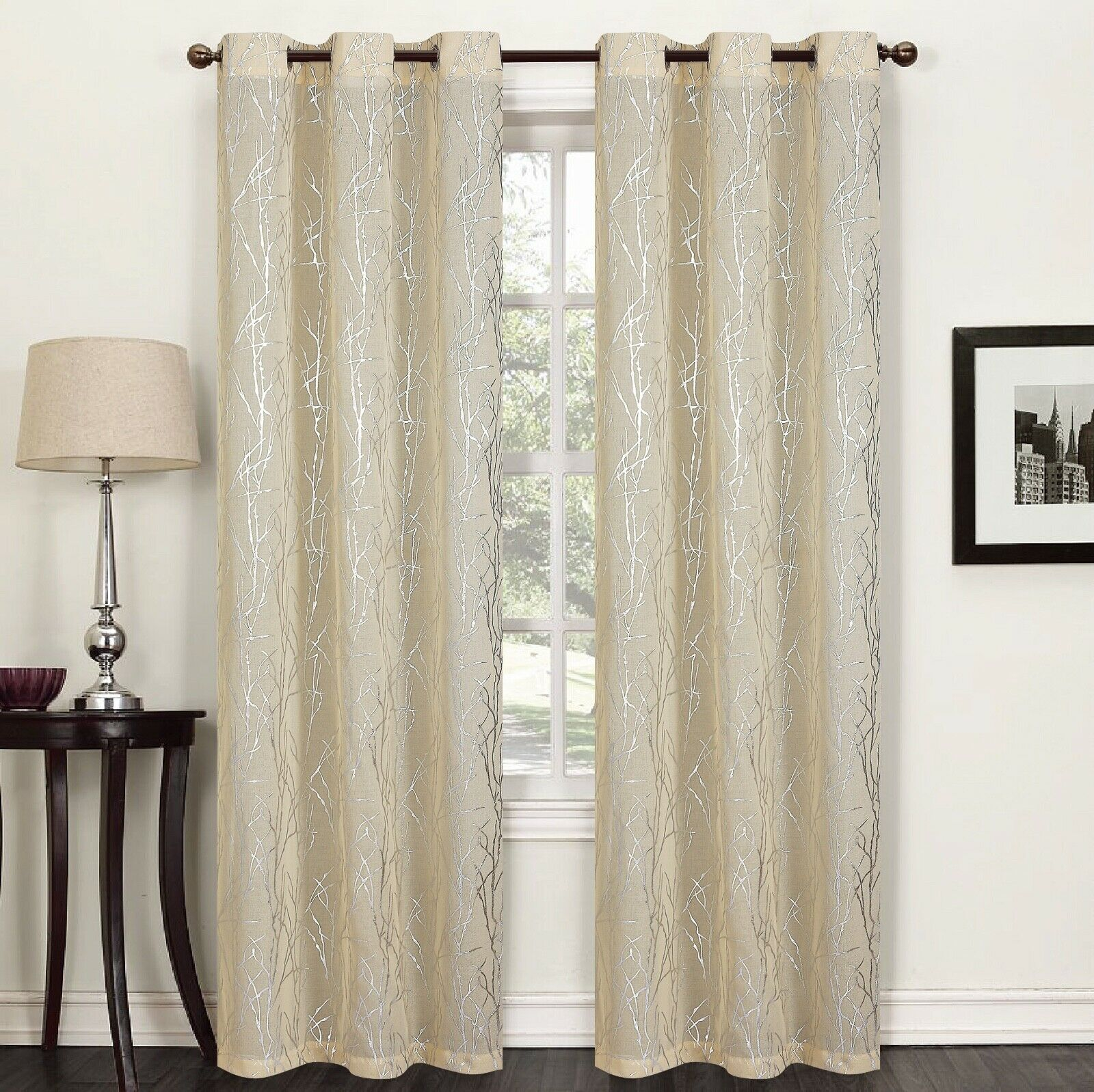 "Flora 84"" Long Faux Silk Window Curtain Grommets Panels Set of 2 - Gold"