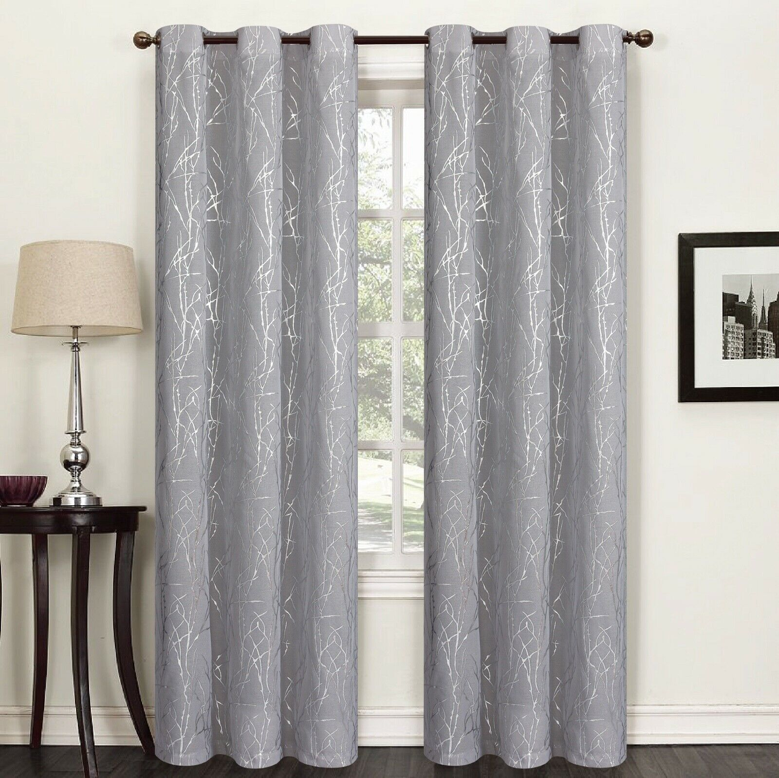 "Flora 84"" Long Faux Silk Window Curtain Grommets Panels Set of 2 - Silver"