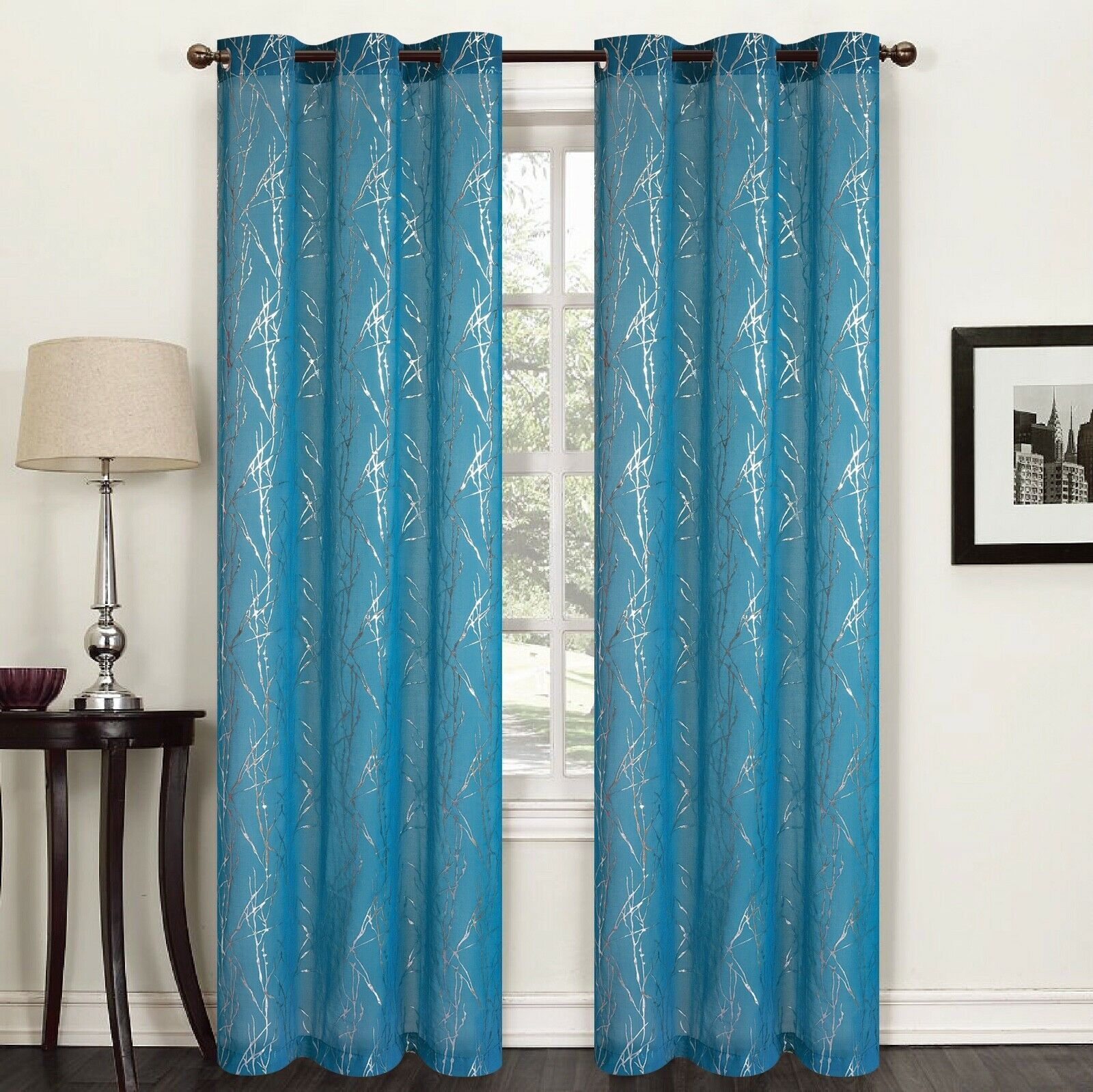 "Flora 84"" Long Faux Silk Window Curtain Grommets Panels Set of 2 - Teal Blue"