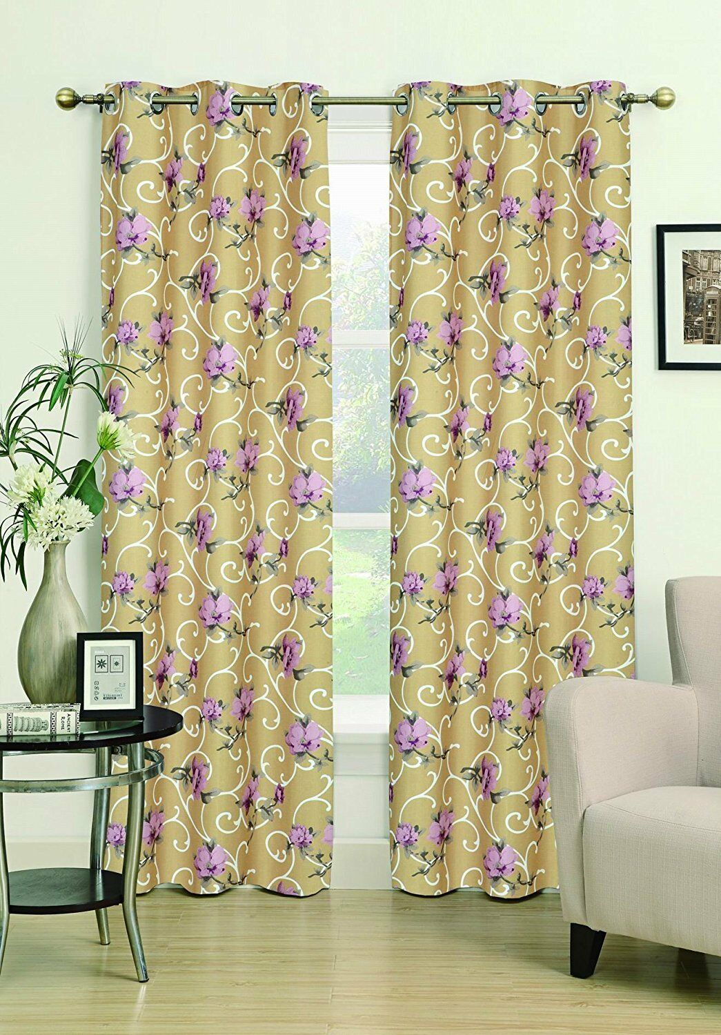Dania Floral Window Curtain Grommets Panel - Gold