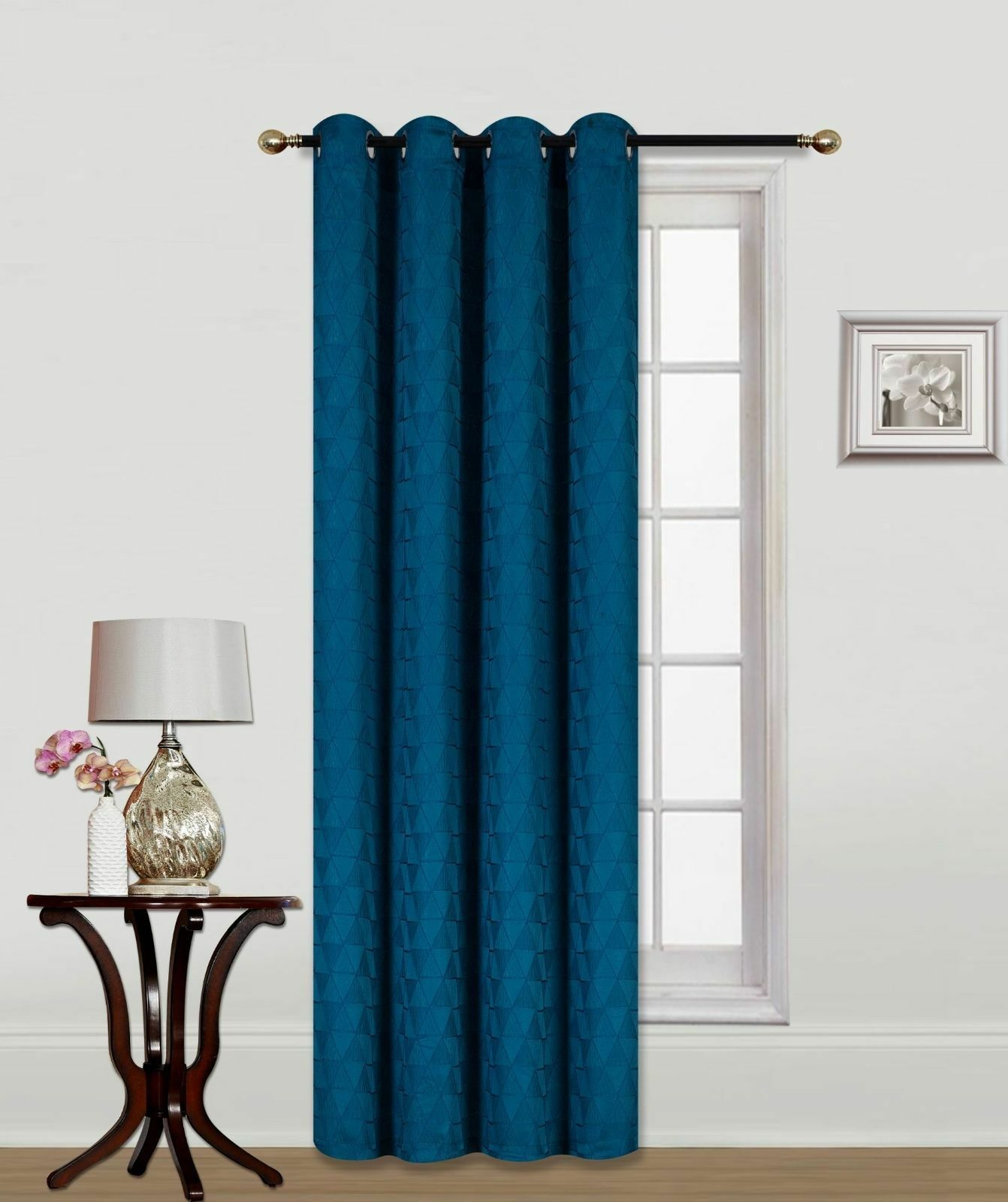 Maya Textured Window Curtain Grommets Panel - Blue