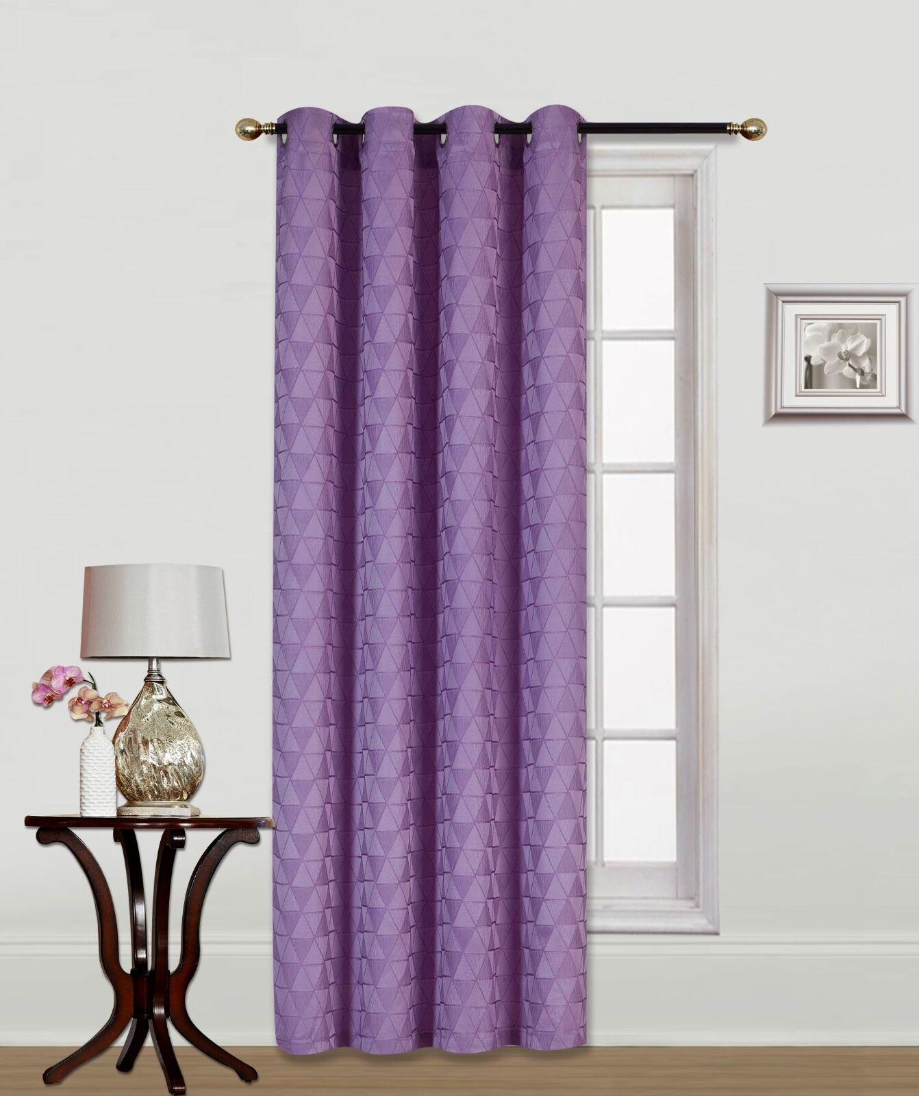 Maya Textured Window Curtain Grommets Panel - Lilac