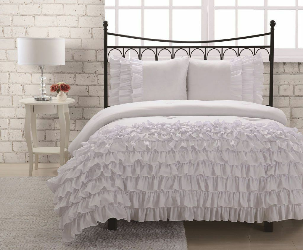 Miley 3-Piece Waterfall Ruffled Comforter Set Bedding - White