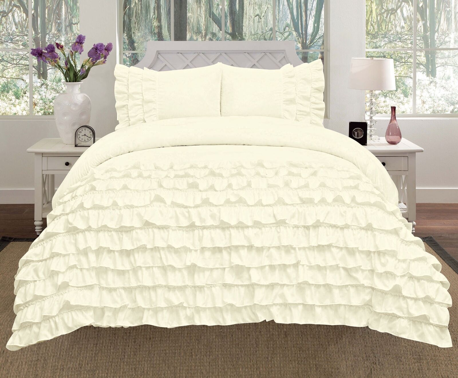Miley 3-Piece Waterfall Ruffled Comforter Set Bedding - Ivory