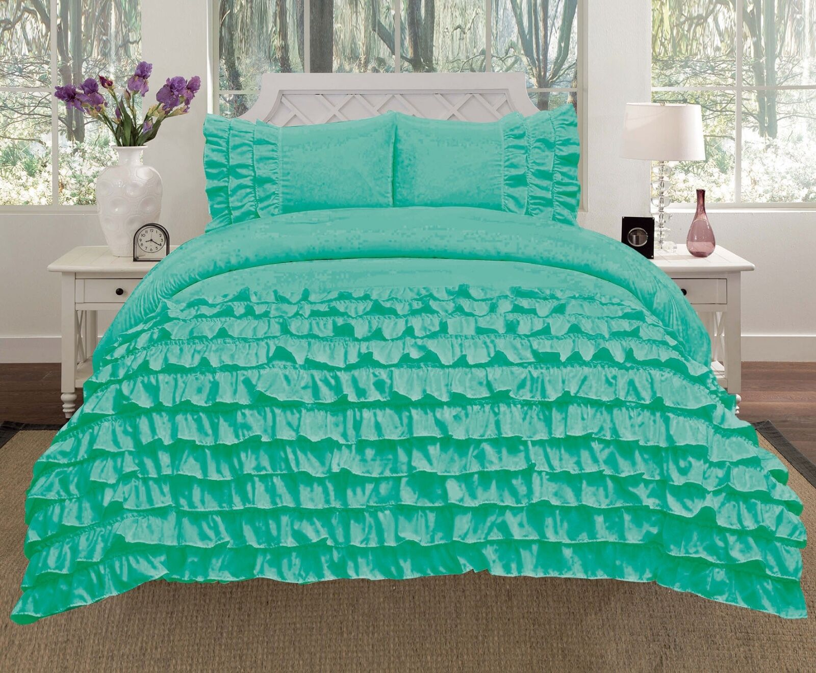 Miley 3-Piece Waterfall Ruffled Comforter Set Bedding - Mint Green