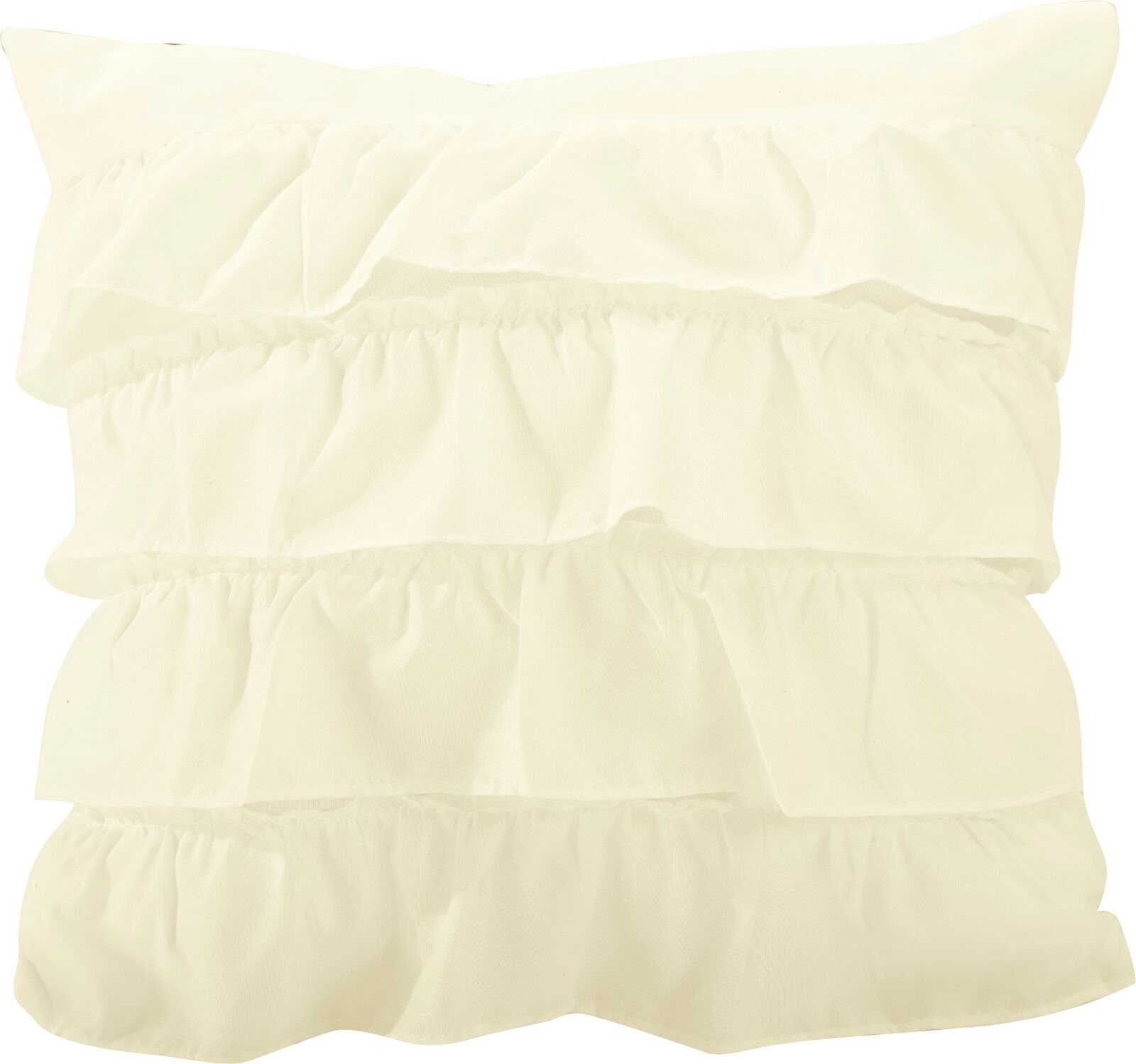 "Katy Ruffled Cushion Solid Square 18"" Throw Plush Pillow - Cream"