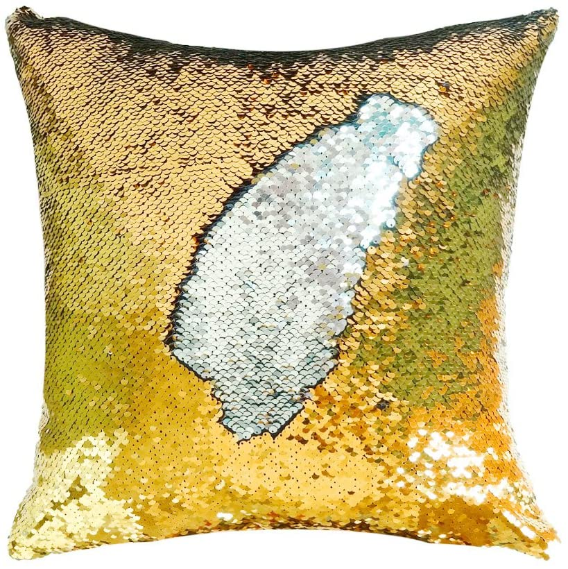 Sequins Cushion Shine Color Shift Decorative Throw Pillow - Silver & Gold