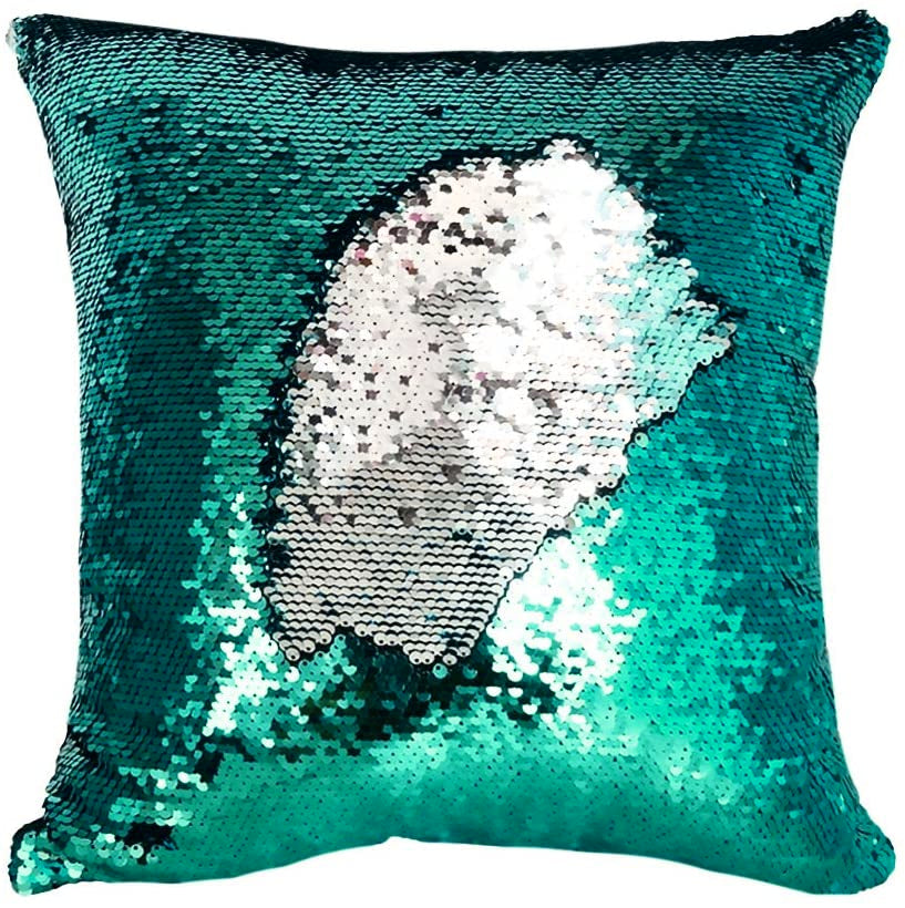 Sequins Cushion Shine Color Shift Decorative Throw Pillow - Teal & Silver