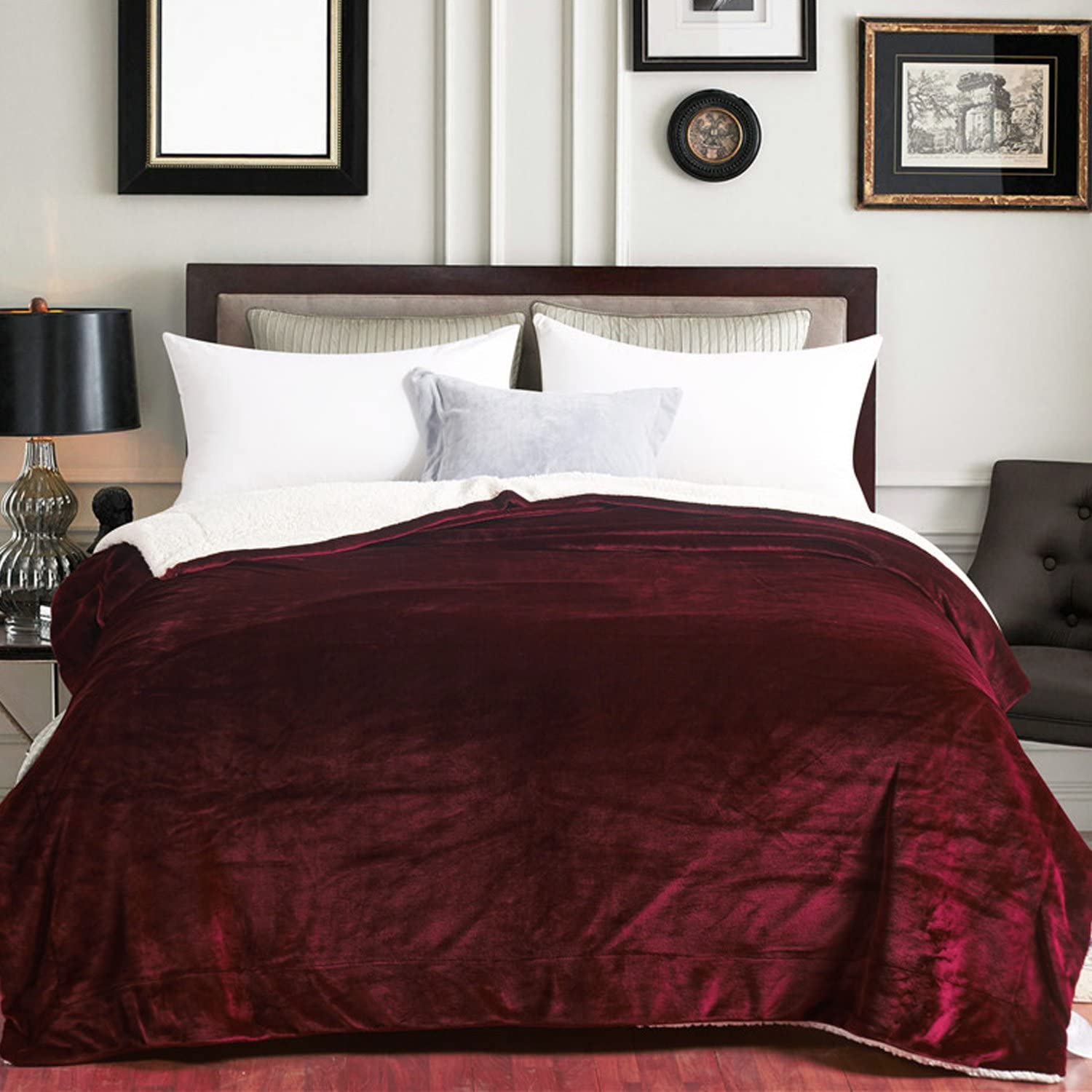 Sherpa Blankets Queen Size Bed Double Fleece Plush Fuzzy Reversible - Maroon