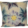 "Water Color Floral Cushion Square Decorative Throw Pillow Large 20"" x 20"" - Blue"