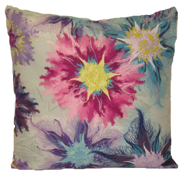 "Water Color Floral Cushion Square Decorative Throw Pillow Large 20"" x 20"" - Pink"