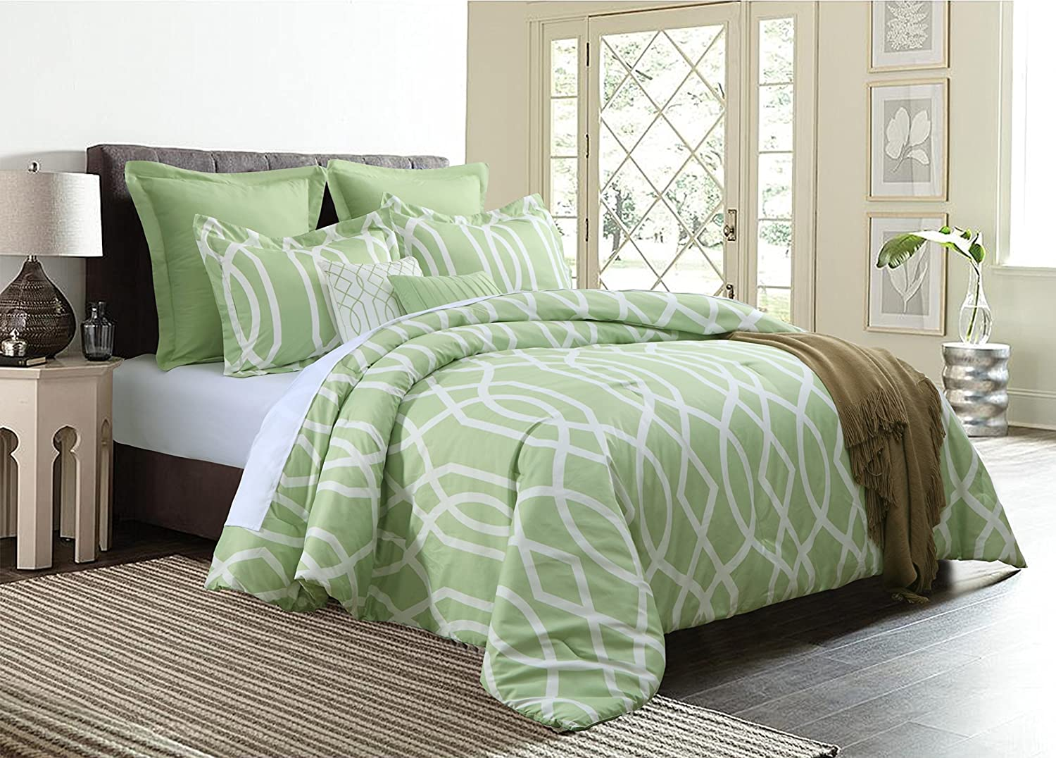 Anbu 7-Piece Comforter Set Geometric Bedding - Sage Green