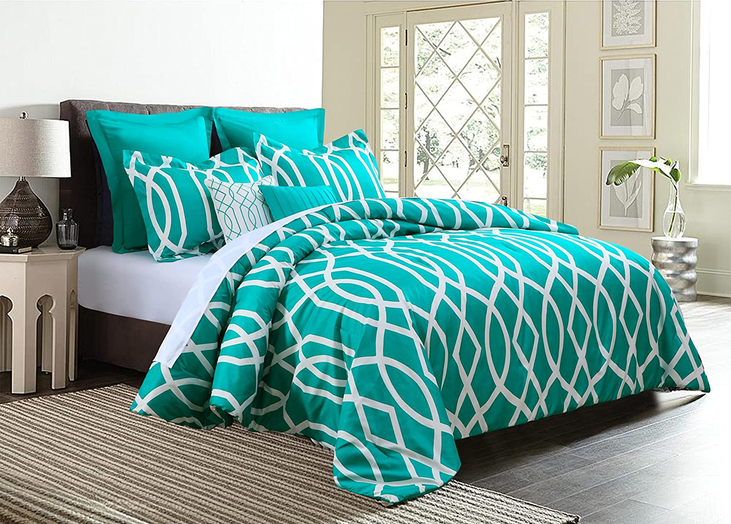 Anbu 7-Piece Comforter Set Geometric Bedding - Teal Blue