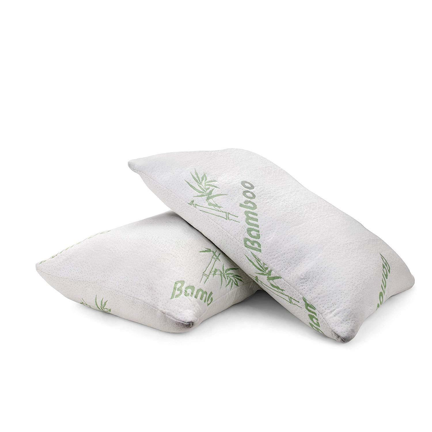 Bamboo Pillow Hypoallergenic Shredded Memory Foam Fill With Zipper