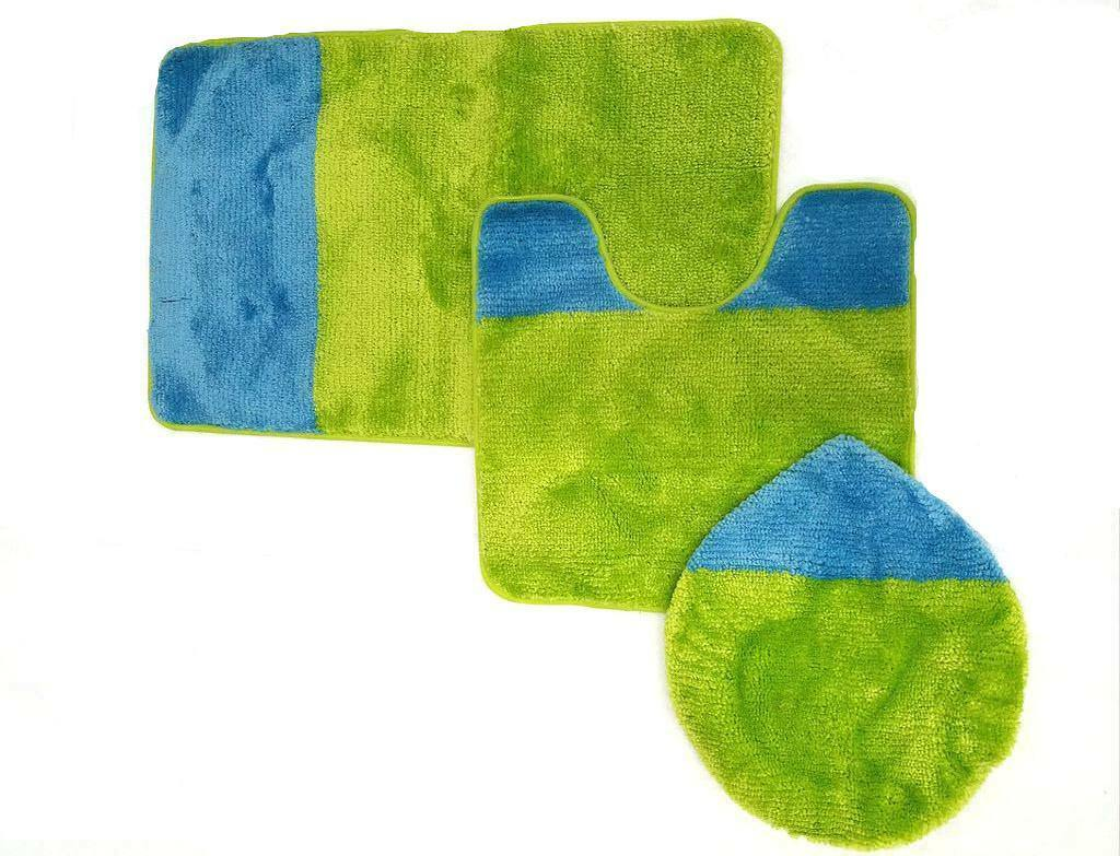 Two-Tone 3-Piece Solid Bathroom Rug Set with Bath Mat Contour & Toilet Lid