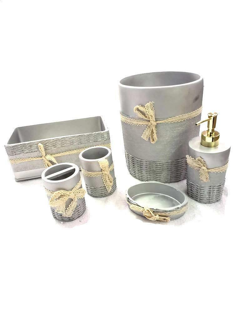 Luxurious 6 Piece Bath Ceramic Accessory Set Bathroom Ensemble - Silver Ribbon