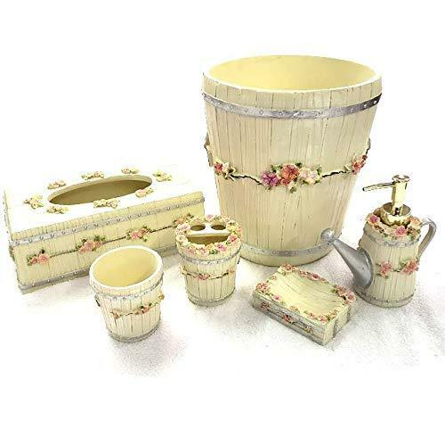 Luxurious 6 Piece Bath Ceramic Accessory Set Bathroom Ensemble - Beige Garden