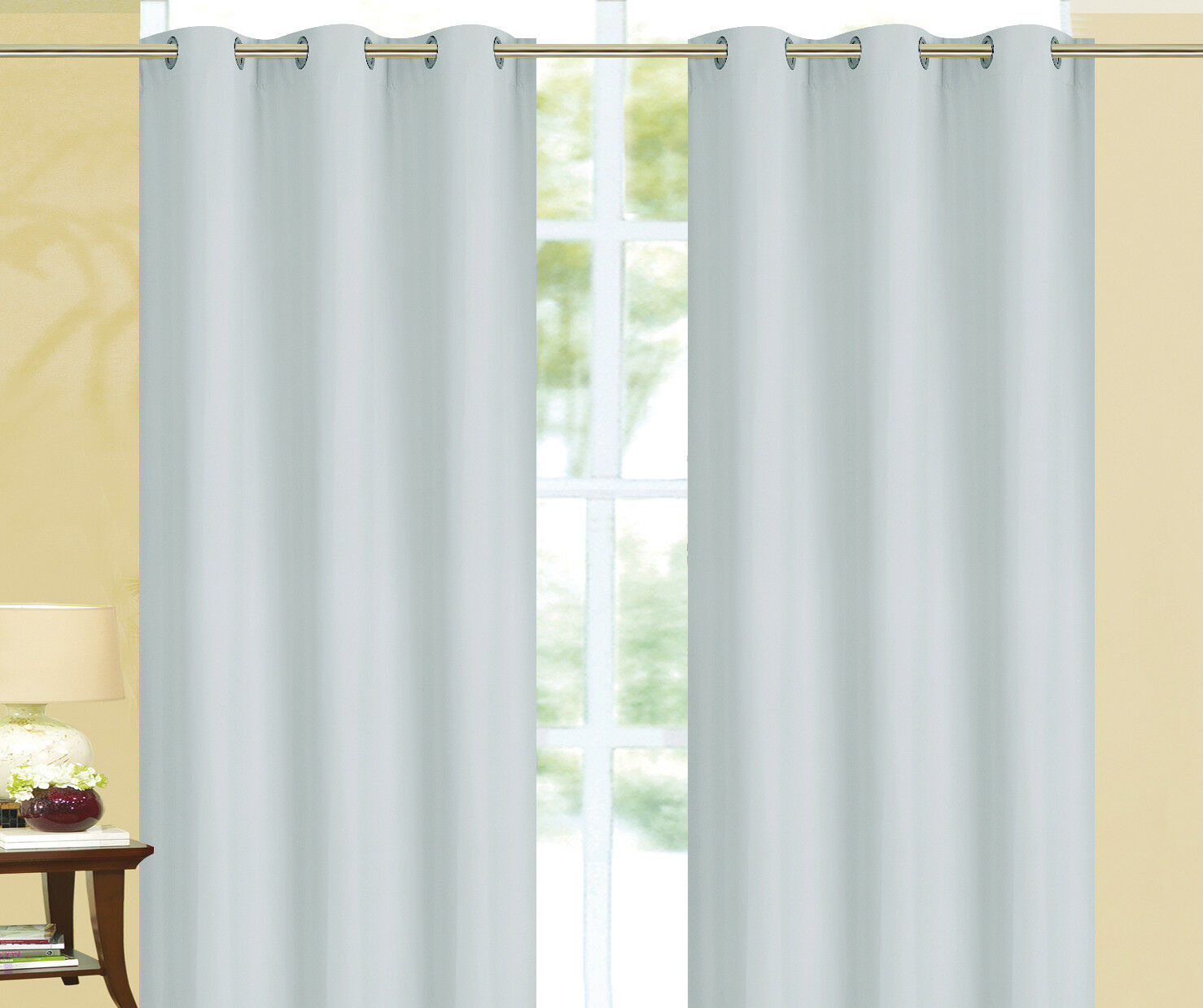 Kendall 100% Blackout Foam Back Window Curtain - Set of Two