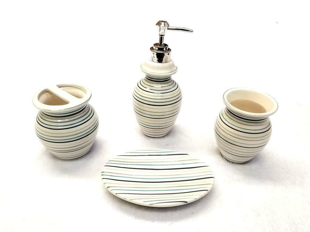 4 Piece Ceramic Bath Accessory Set - Blue Striped