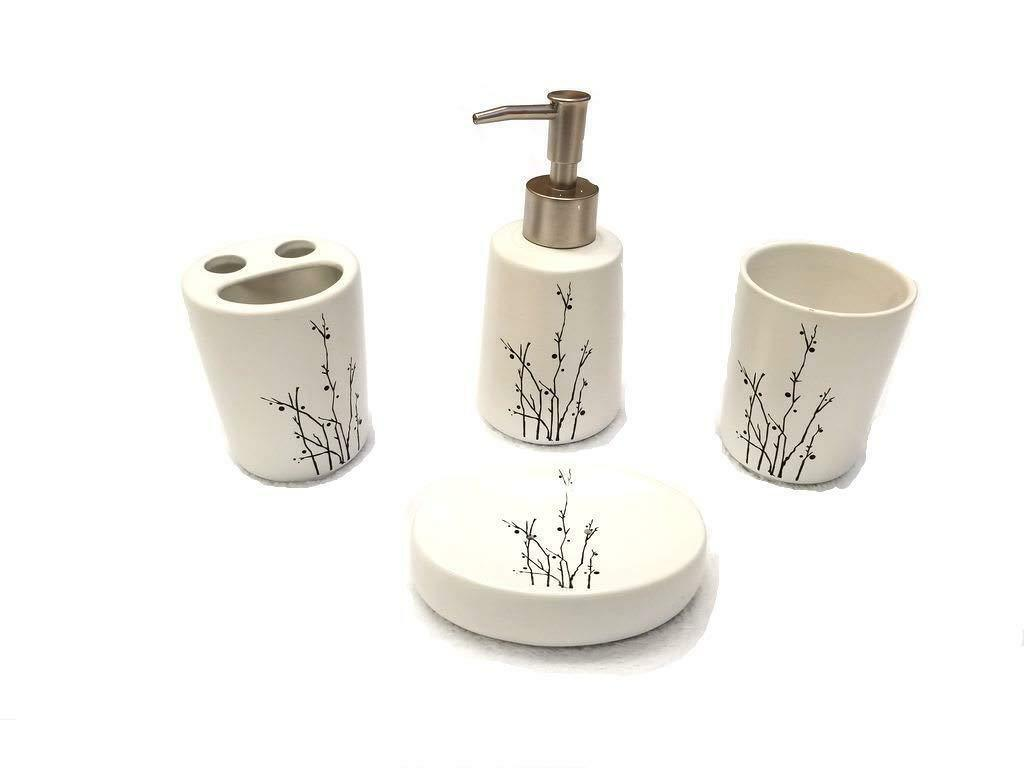 4 Piece Ceramic Bath Accessory Set - Black Branches