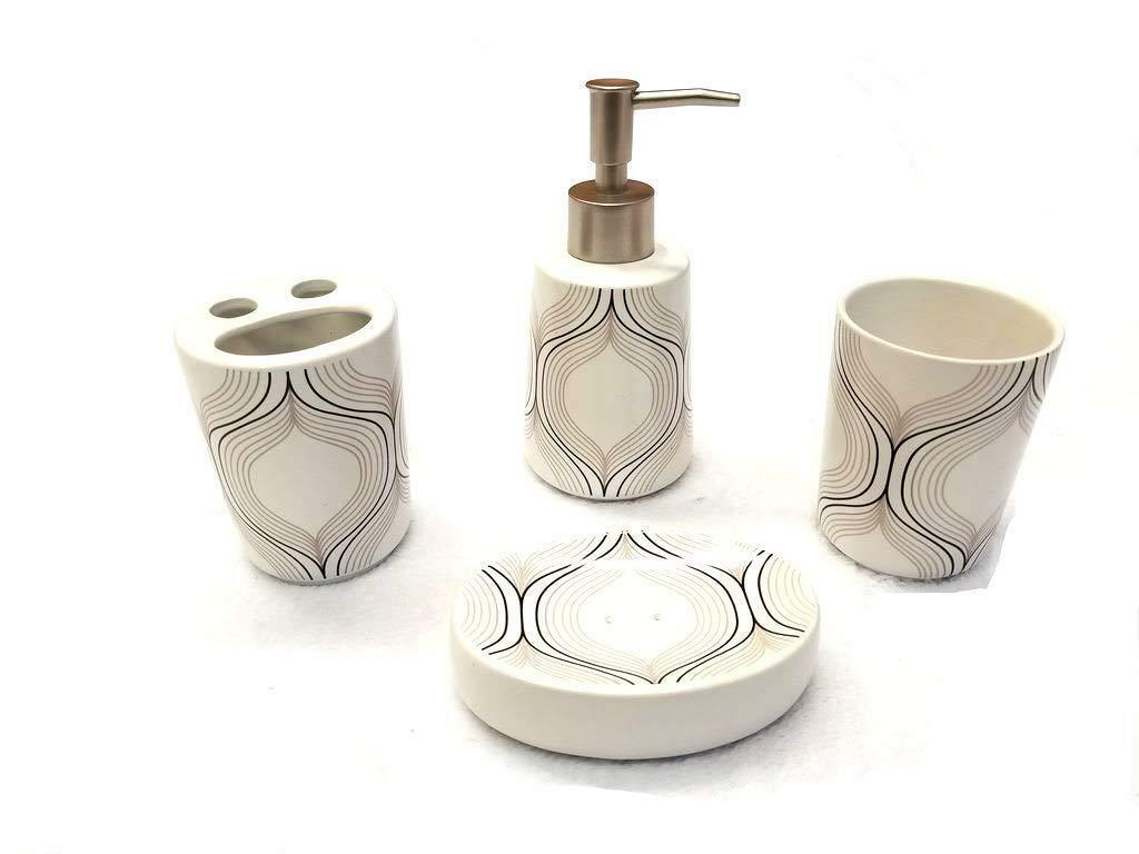 4 Piece Ceramic Bath Accessory Set - Brown Waves