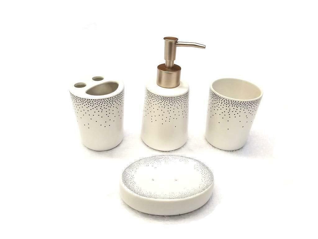 4 Piece Ceramic Bath Accessory Set - Navy Dots