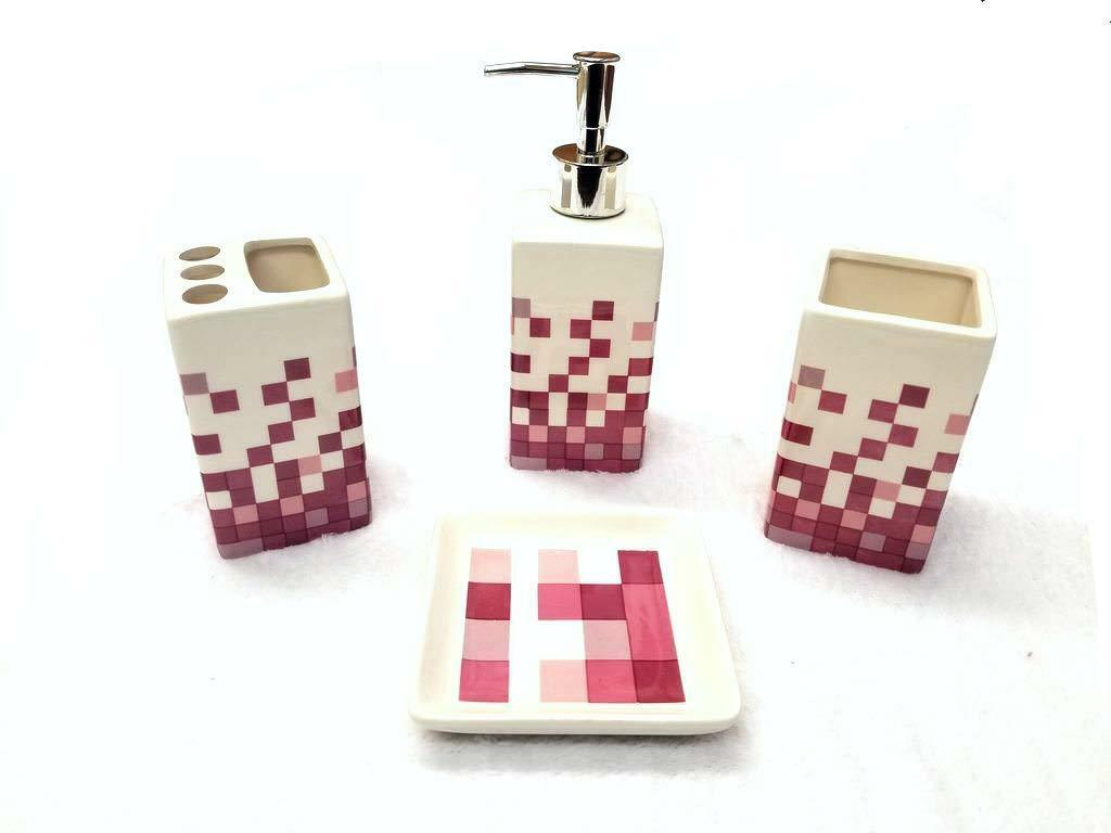 4 Piece Ceramic Bath Accessory Set - Pink Squares
