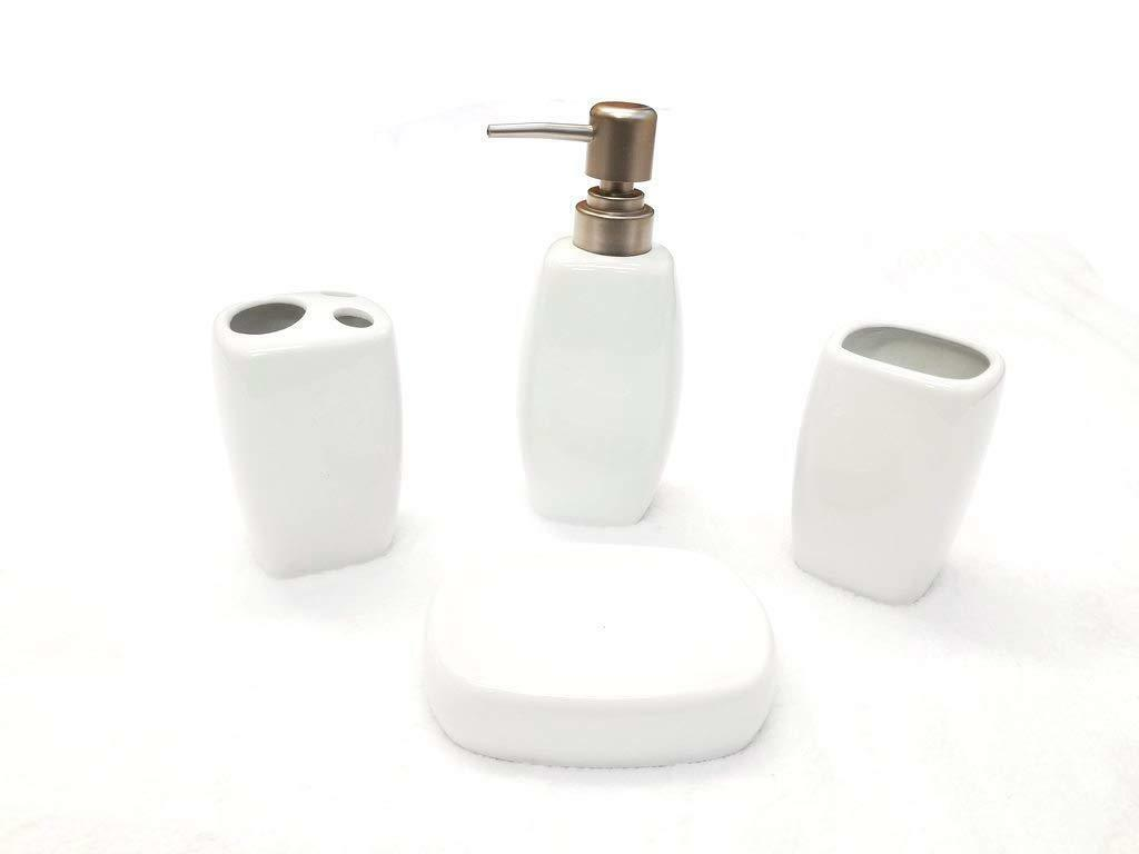 4 Piece Ceramic Bath Accessory Set - Solid White