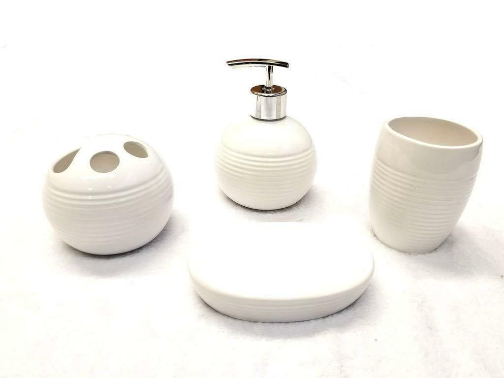 4 Piece Ceramic Bath Accessory Set - White Ribbed