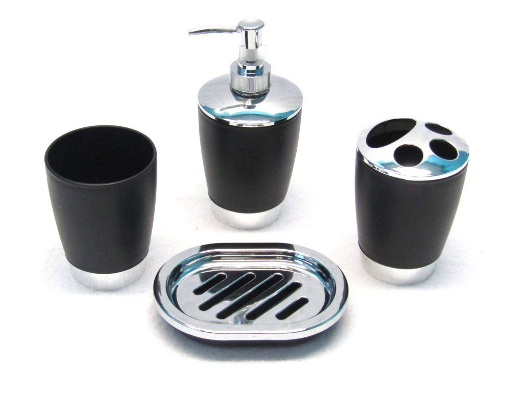 4 Piece Chrome Bath Accessory Set - Black