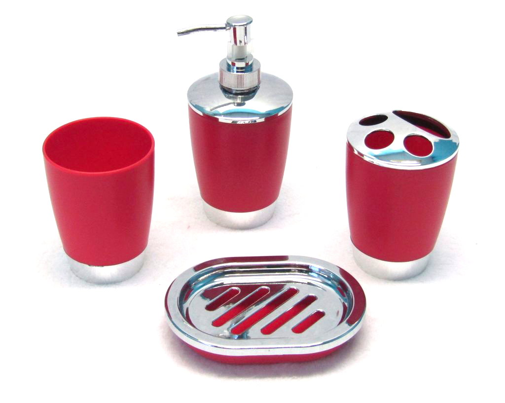 4 Piece Chrome Bath Accessory Set - Red