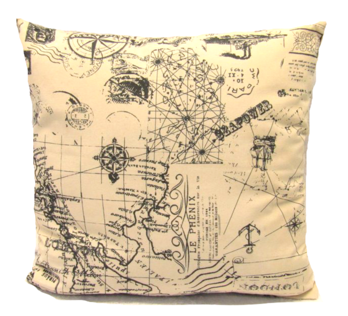 Compass Cushion Square Decorative Throw Pillow Map