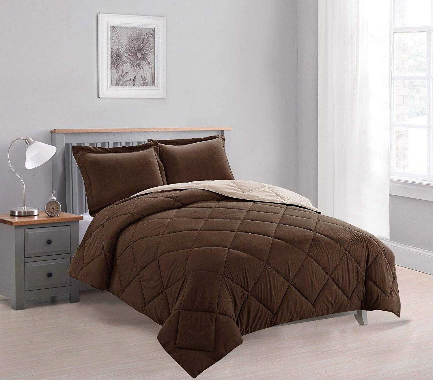 Dayton 3-Piece Reversible Down Alternative Solid Comforter Set - Brown & Taupe