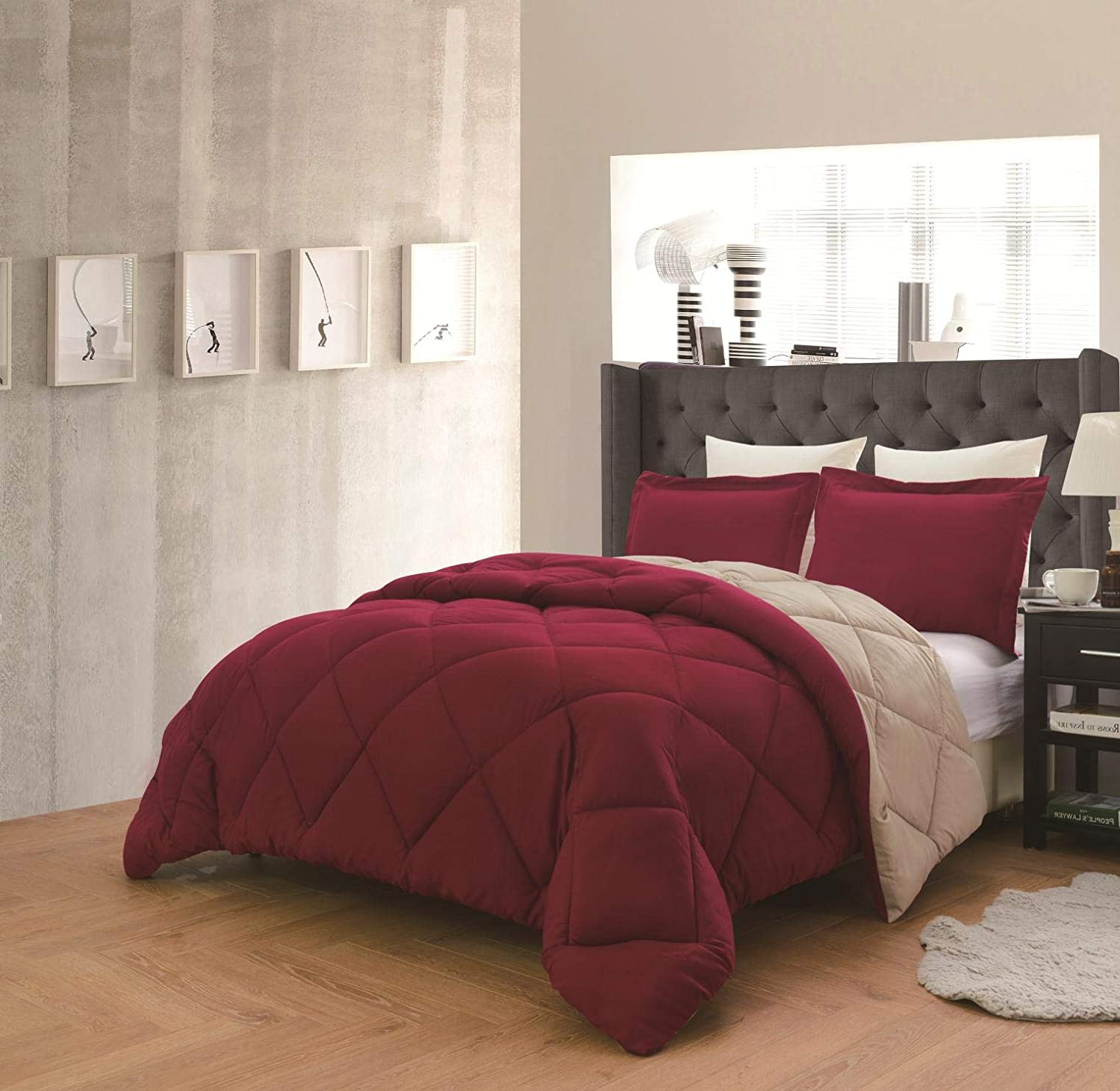 Dayton 3-Piece Reversible Down Alternative Solid Comforter Set - Maroon & Taupe