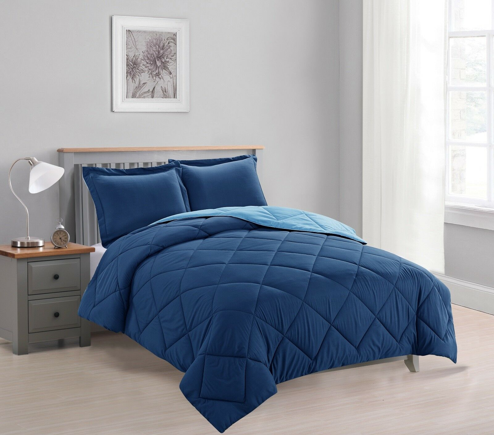 Dayton 3-Piece Reversible Down Alternative Solid Comforter Set - Navy & Light Blue