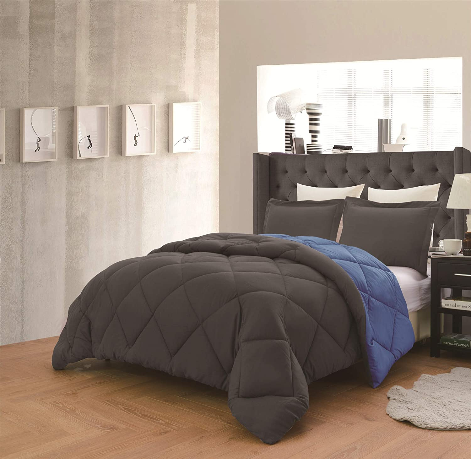 Dayton 3-Piece Reversible Down Alternative Solid Comforter Set - Gray & Navy Blue