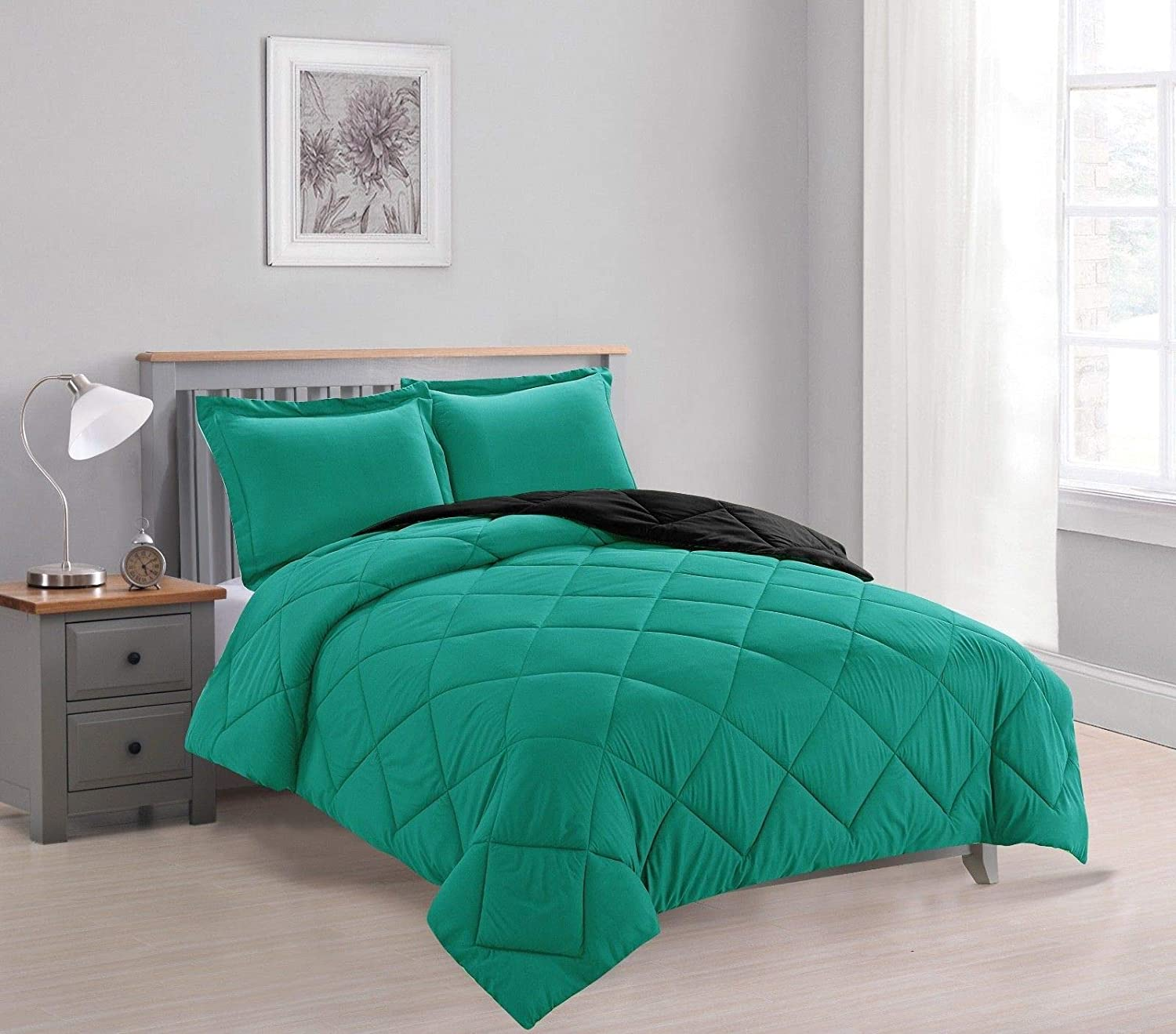 Dayton 3-Piece Reversible Down Alternative Solid Comforter Set - Teal & Black