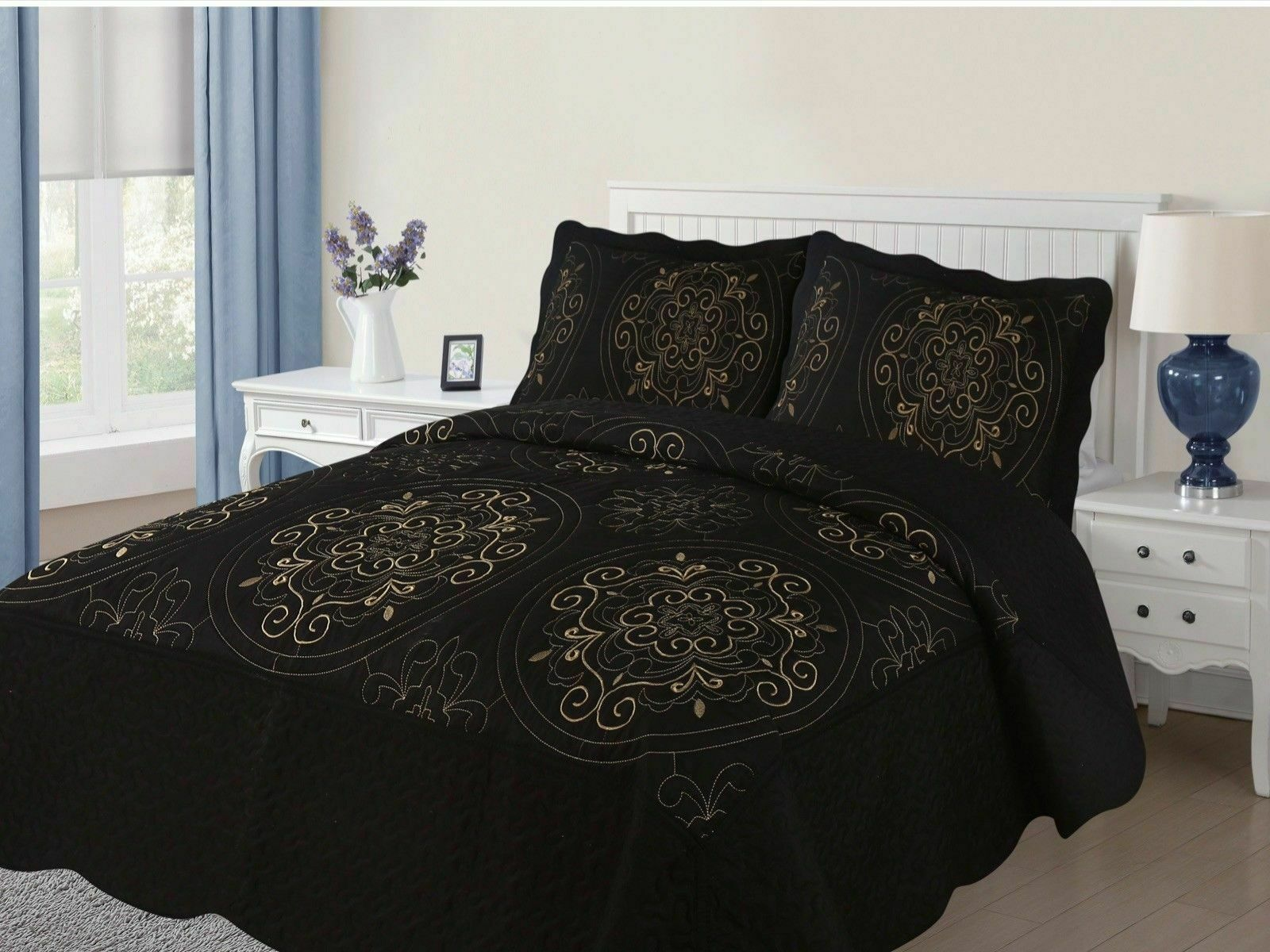 Diana 3-Piece Quilted Bedspread Embroidered Coverlet Bedding Set- Black