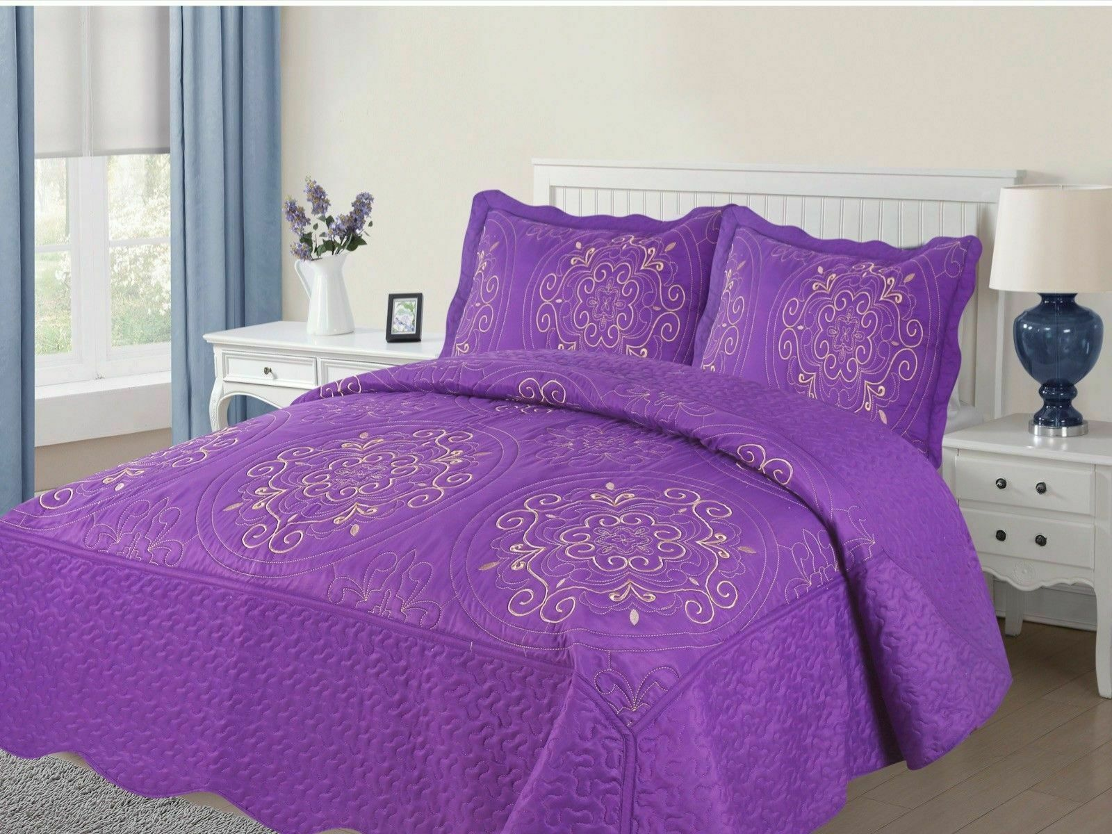 Diana 3-Piece Quilted Bedspread Embroidered Coverlet Bedding Set- Purple
