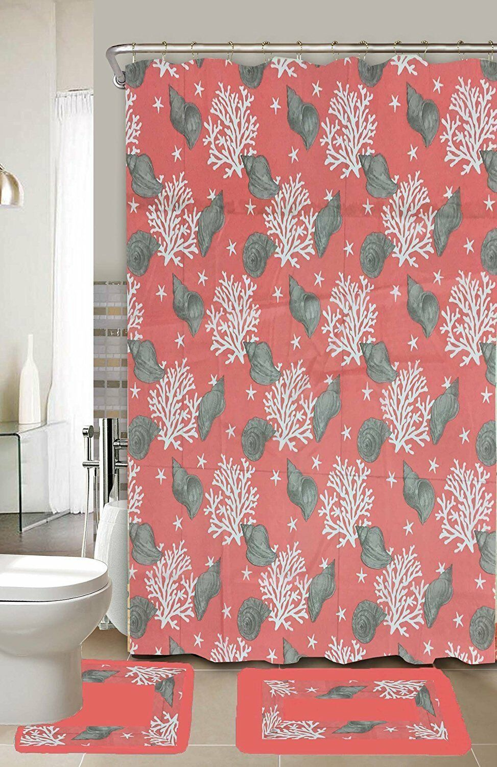 Coral Shell 15-Piece Bathroom Accessory Set Bath Mats Shower Curtain - Coral Pink