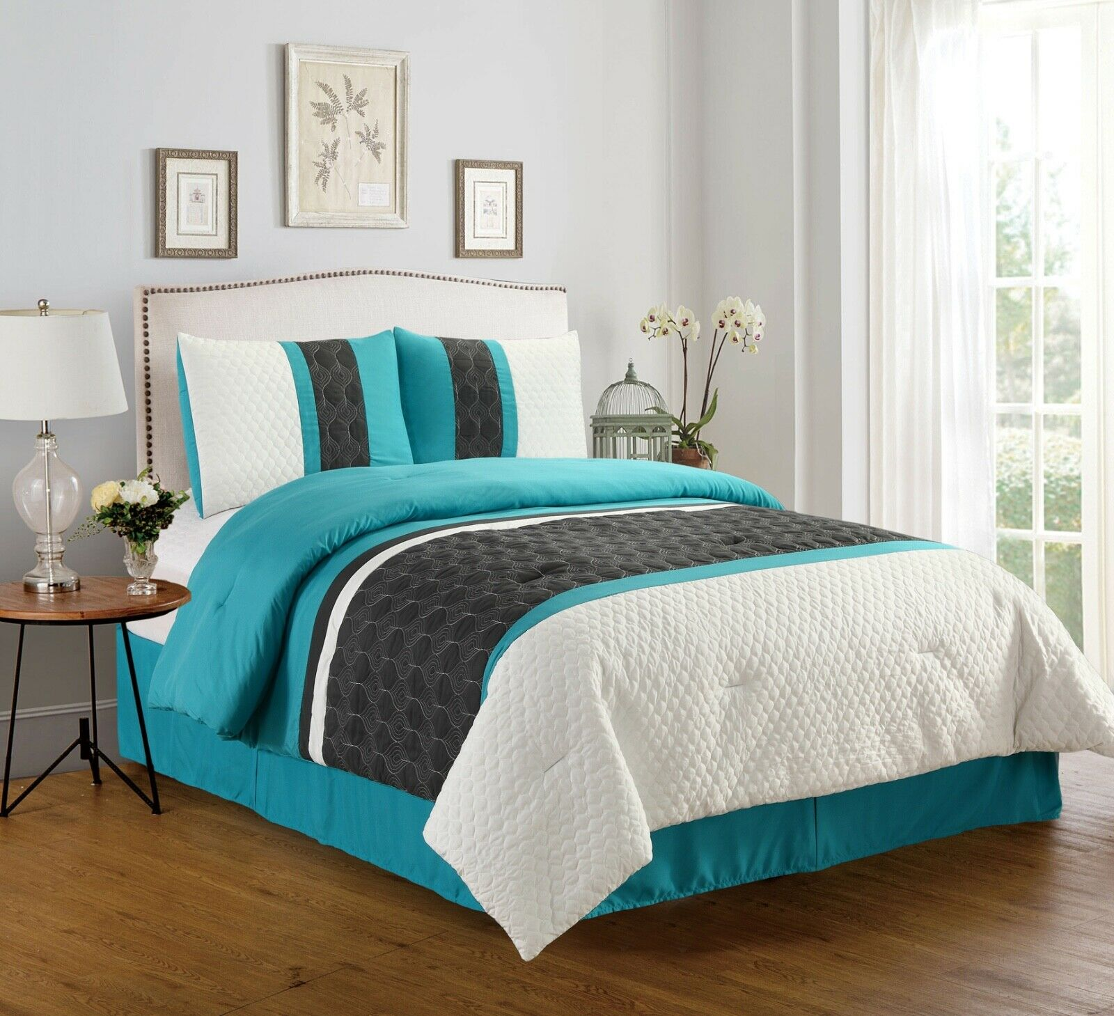 Enas Embossed 4-Piece Comforter Set Bedding - Teal & Gray