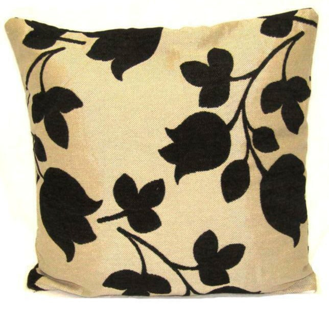 "Flower Cushion Square Decorative Throw Pillow Large 20"" x 20"" - Black"