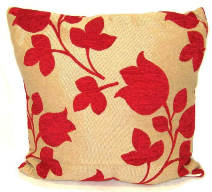 "Flower Cushion Square Decorative Throw Pillow Large 20"" x 20"" - Red"