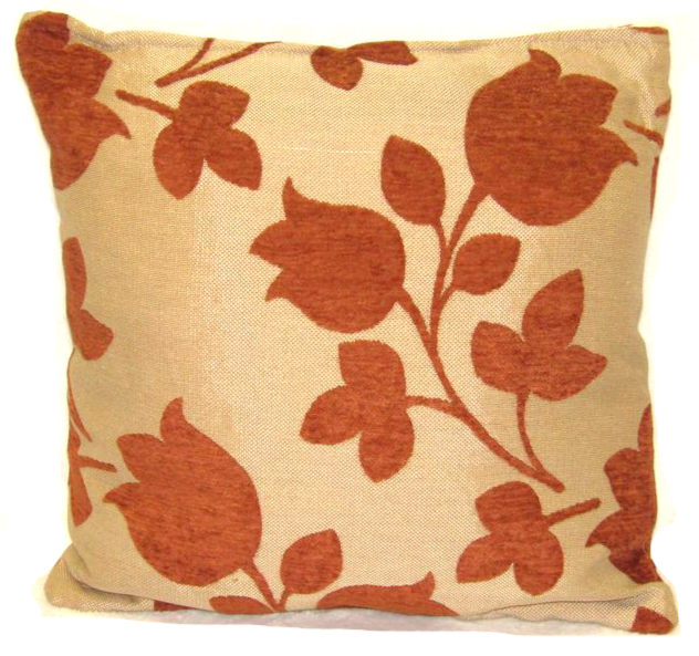 "Flower Cushion Square Decorative Throw Pillow Large 20"" x 20"" - Rust"