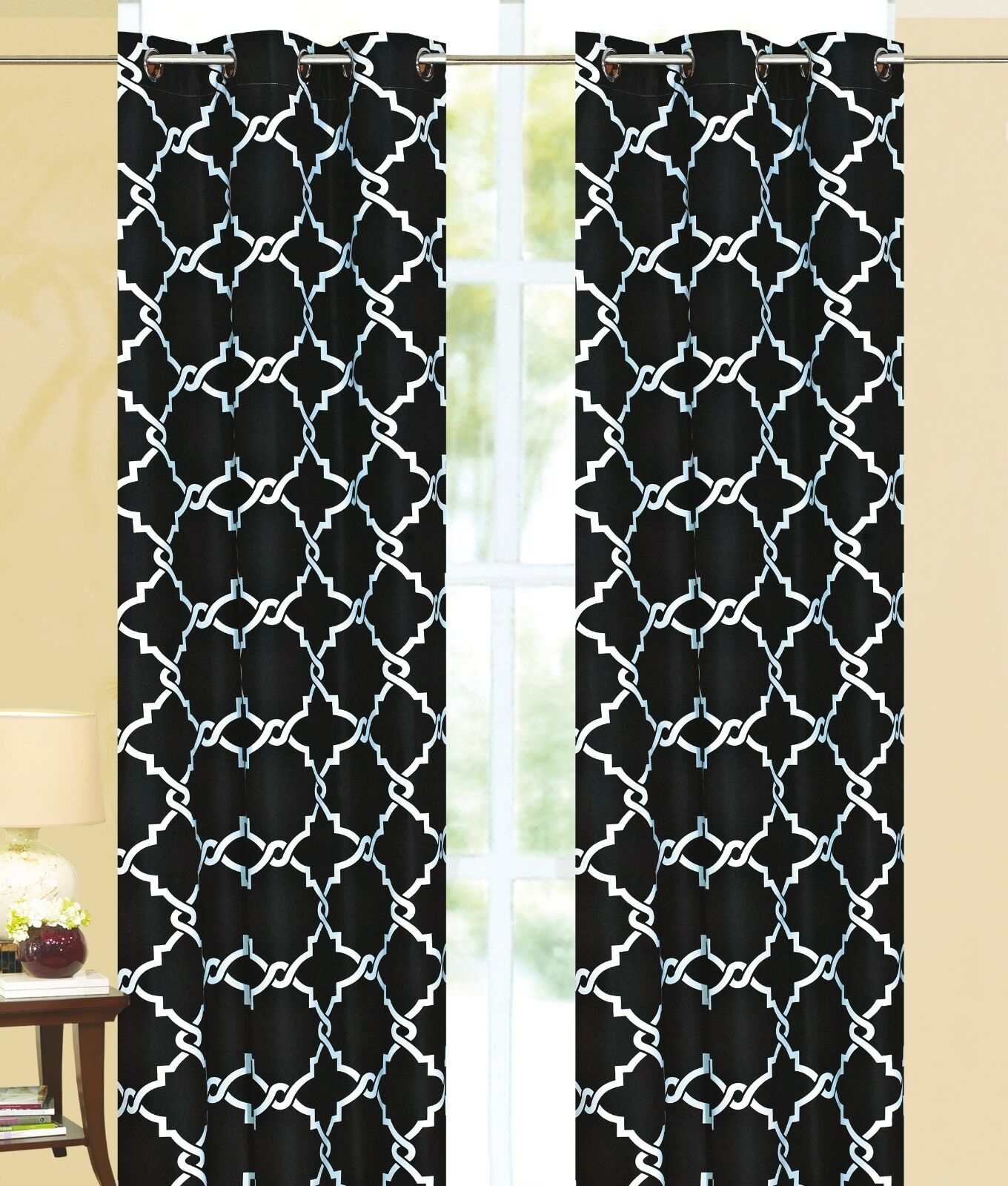 "Galaxy 100% Thermal Blackout Grommet Curtain Panel 84"" x 55"" - Black"