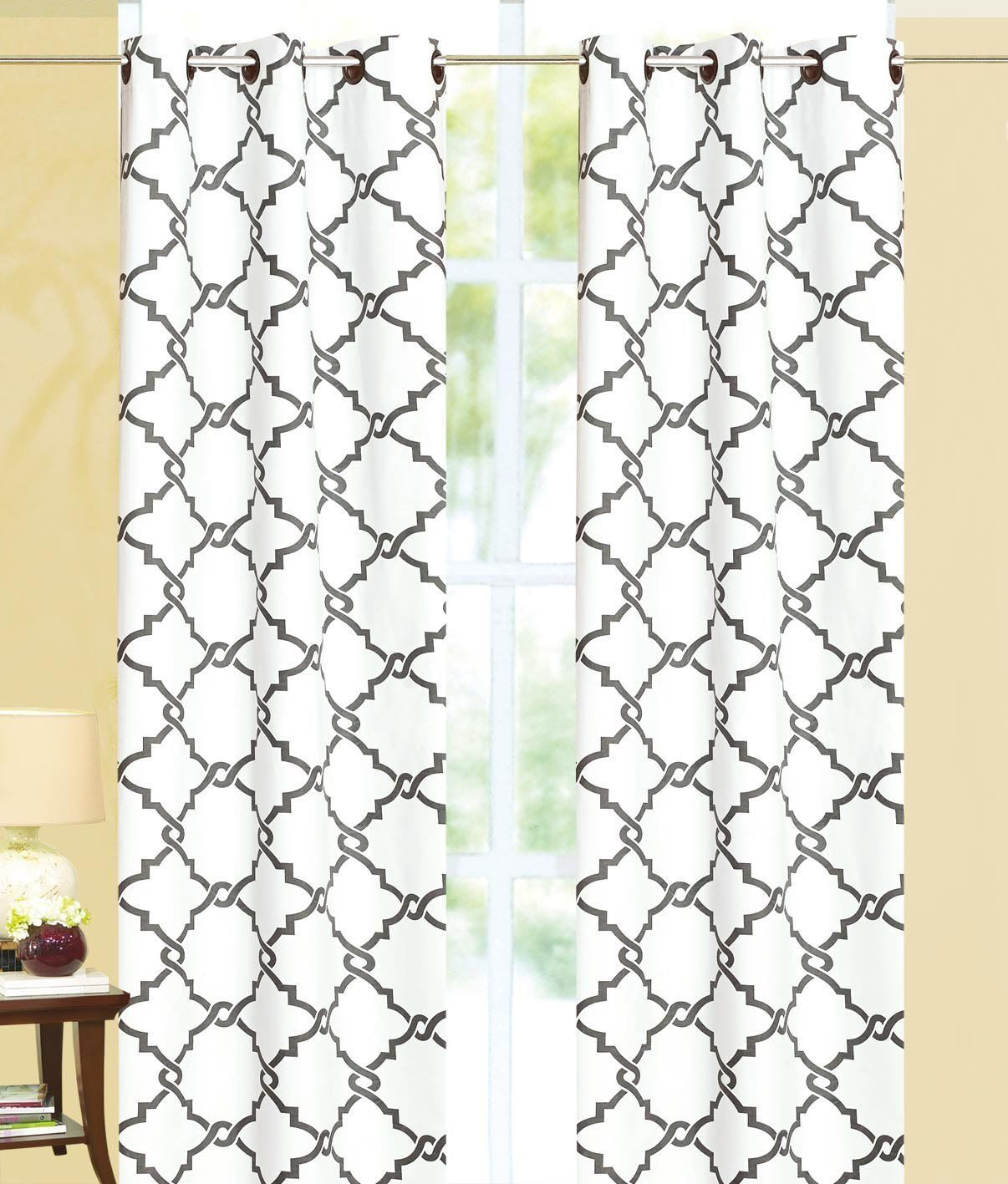 Geometric 100% Thermal Blackout Grommet Insulated Curtain Panel - Gray