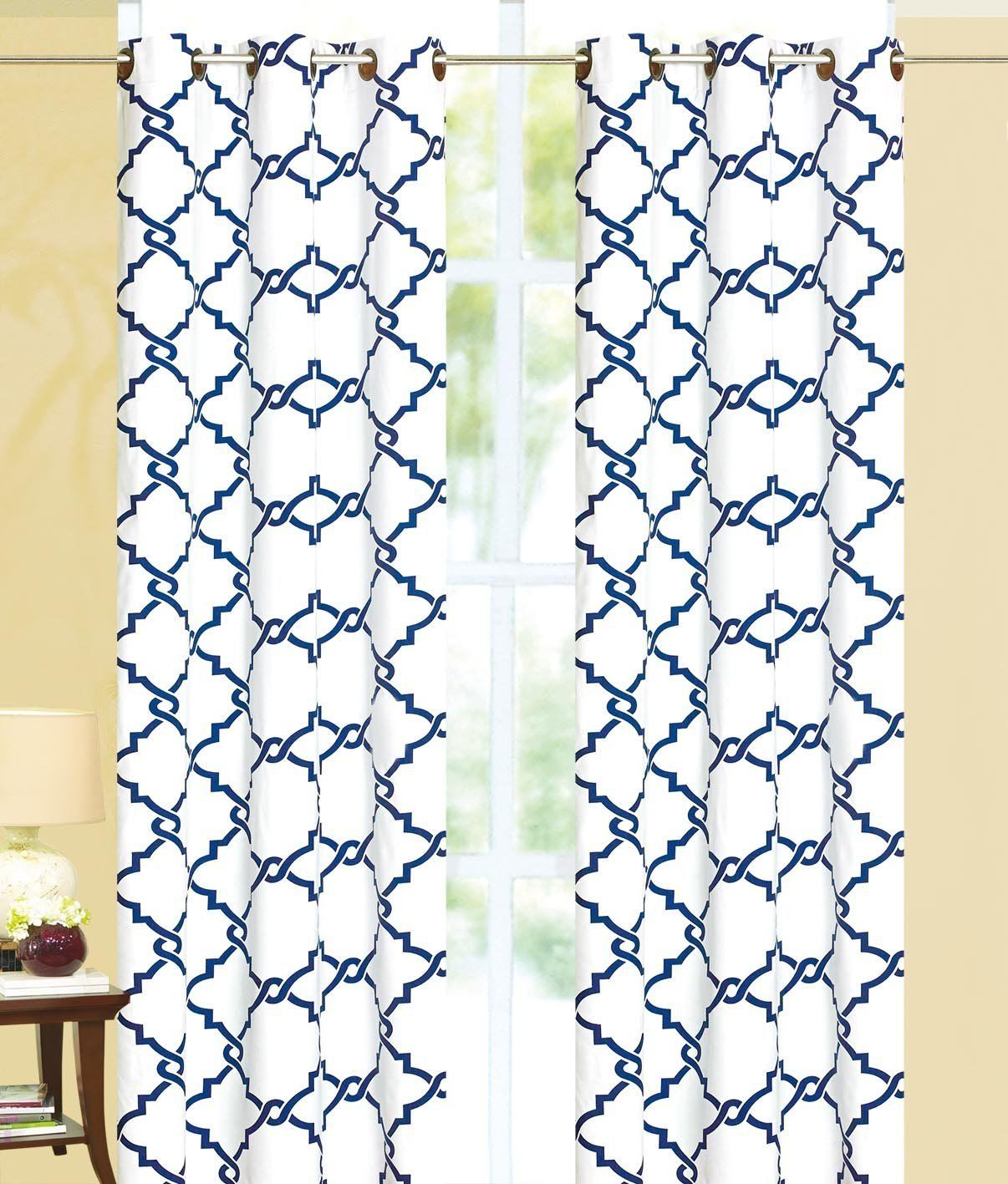 Geometric 100% Thermal Blackout Grommet Insulated Curtain Panel - Navy Blue